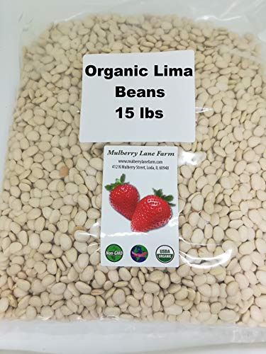 Lima Beans 15 Pounds Baby Butter Beans USDA Certified Organic Non-GMO, Bulk