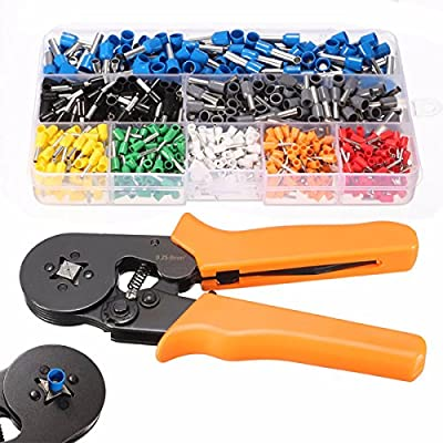 Crimp Tool Kit, GOCHANGE Quadrilateral Crimper Plier Wire Terminal and Connection Kit with 0.25-6.0mm2 Ferrule Crimper Plier/Wire Stripper & 800 x Connectors Terminal