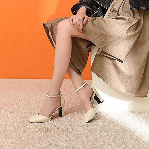 EU Ly UK Et 743 Escarpins 4 Hauts 37 8 taille Sandales Talons 5 Noir DALL Grossier Chaussures Tête Femmes Talon Carrée Été Couleur De Rétro 5 5 Pour Beige CN37 Haut Printemps Cm 4q5wp