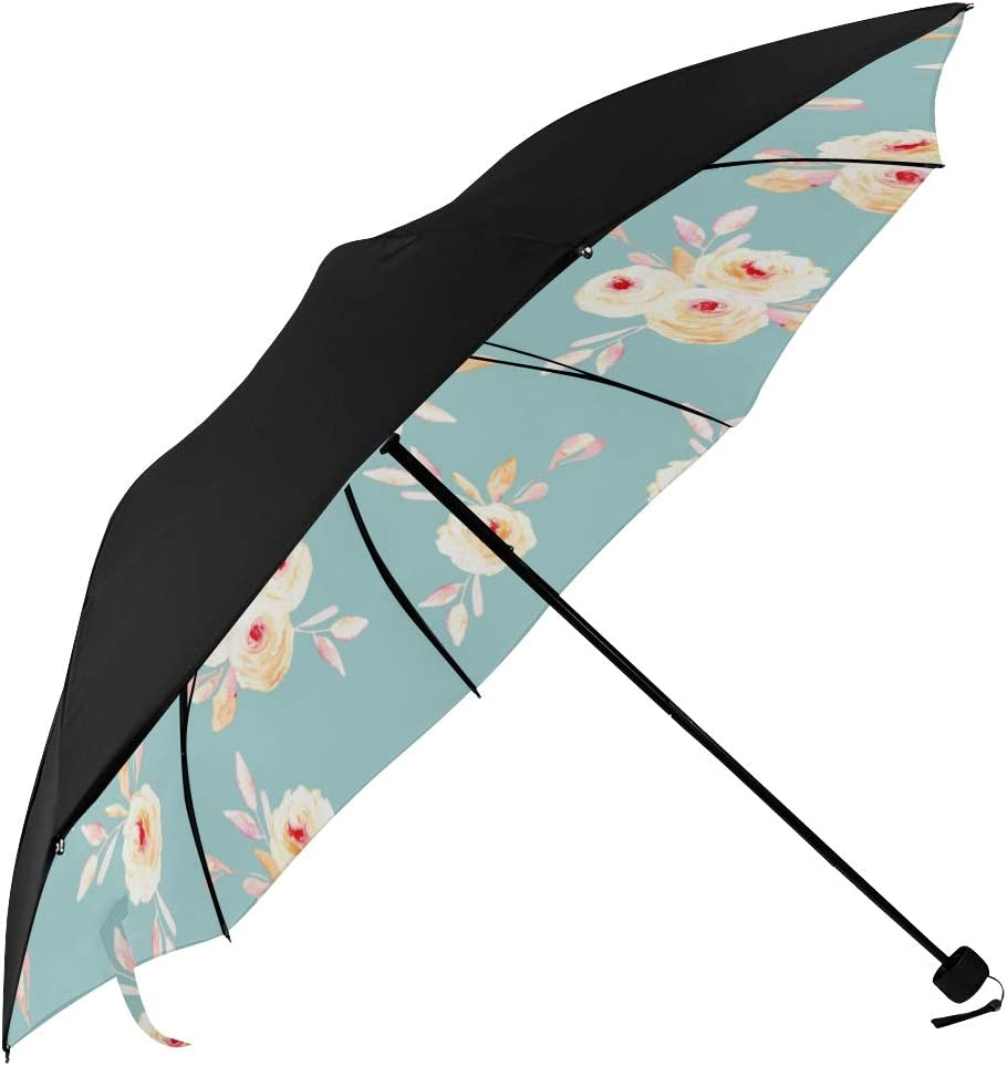 Umbrella Compact Travel Vintage With Pink Red Flowers And Leaves Underside Printing Sun Umbrella For Men Best Umbrella Compact With 95 Uv Protection For Women Men Lady Girl