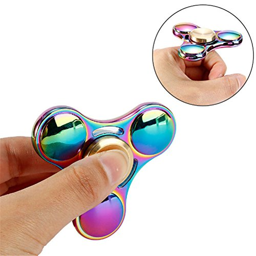 STRESS SPINNER Colorful Camo Fidget Tri Hand Spinning Finger Toy Stocking Stuffer for ADHD EDC Focus Relieves Anxiety and Boredom (Style 04)