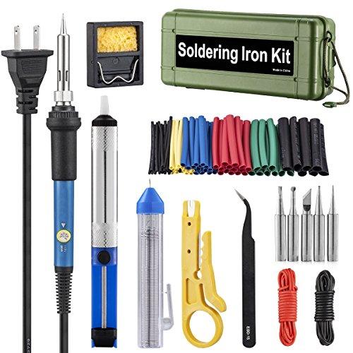 Soldering Iron Kit Electronics, 60W Adjustable Temperature Welding Tool, 5pcs Soldering Tips, Desoldering Pump, Soldering Iron Stand, Tweezers,Heat Shrink Tubing (Green)