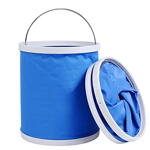 lightlamp Outdoor camping water container Compact collapsible barrel Oxford cloth Water container Portable folding hiking Fishing Washing and rowing 11L by lightlamp