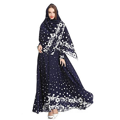 Incluso Allentato Medio Ricamato Abito Islamico Kindoyo hijab largo Blu 0X7fw
