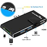 Rocketek USB 3.0 Hub Multiport Adapter, 6 in 1 Docking Station with 4K HDMI, Gigabit Ethernet, SD/Micro SD Card slots and 2 USB 3.0 Ports for Microsoft Surface Pro 4