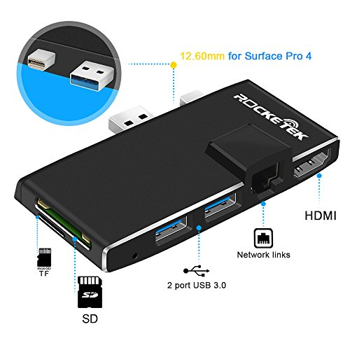 Rocketek USB 3.0 Hub Multiport Adapter, 6 in 1 Docking Station with 4K HDMI, Gigabit Ethernet, SD/Micro SD Card Slots and 2 USB 3.0 Ports for Microsoft Surface Pro 4 by Rocketek