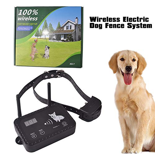 JIEYUAN Wireless Dog Fence Pet Containment System, Safe Effective Vibrate/Shock Dog Fence, Adjustable Range Up to 900 Feet & Display Distance, Rechargeable Waterproof Collar (1 Dog System)