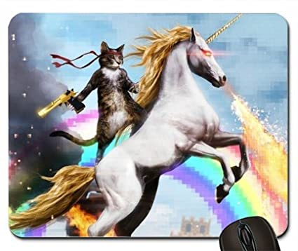 Cat with gun mounted on a unicorn 1958343 mouse pad computer mousepad