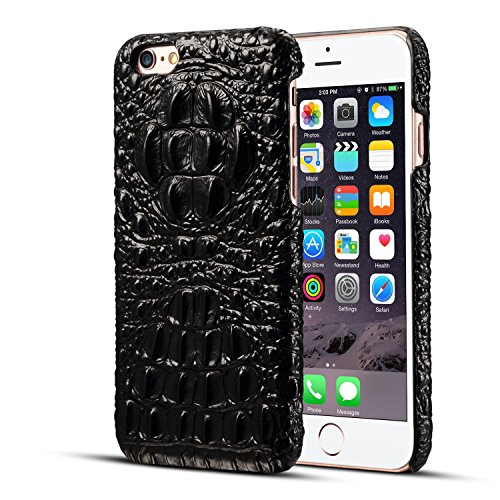 Alligator Skin (iPhone 6 Genuine Leather (Crocodile Texture)Case Cover,Flying Horse Real Leather Alligator Skin Texture[Ultra Slim Handmade]Back Cover for iphone 6/6S(Black))