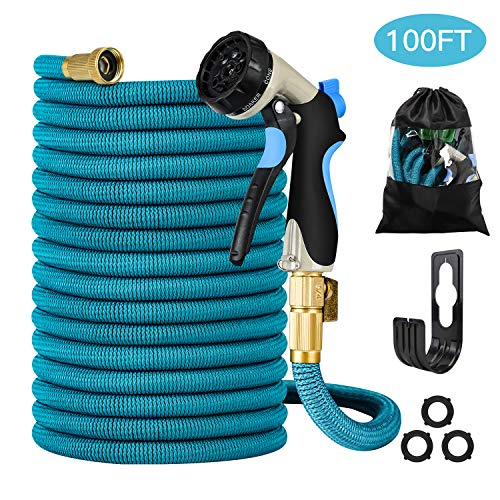 Garden Hose – Heavy-Duty, Flexible, Expandable, Retractable, Collapsible, Compact, Safe, Lightweight – No Tangle, Kink or Coil, Easy Storage – Best Waterhose for Gardening, Free Nozzle (100 FT)