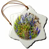 3dRose TDSwhite – Rock Photos - Purple Flowers Against Rocks - 3 inch Snowflake Porcelain Ornament (orn_281910_1)