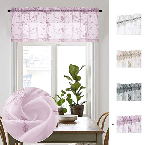 Lilac Sheer Valance Curtains for Bathroom Rod Pocket Top Curtain Panels Drapery for Short Basement Windows 16 Inch Length for Kitchen Living Room Sold Individually (Lilac Valance Curtains)