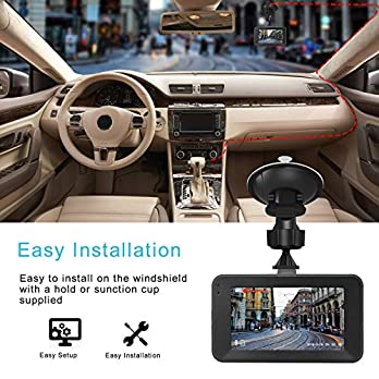 Dash Cam 1080P DVR Dashboard Camera Full HD 3″ LCD Screen 170°Wide Angle, WDR, G-Sensor, Loop Recording Motion Detection Excellent Video Images(Black)