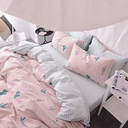 HIGHBUY Cactus Print Kids Duvet Cover Set Full 100% Cotton Pink Striped Children Duvet Cover with Zipper Closure 3 Piece Reversible Bedding Set Queen for Girls by HIGHBUY (Image #5)
