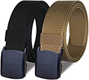 "WYuZe 2 Pack Nylon Belt Outdoor Military Web Belt 1.5"" Men Tactical Webbing"