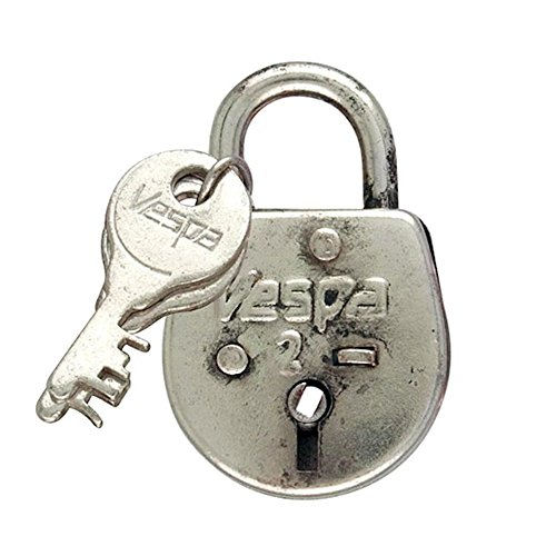 Metal Pad Lock and Key Silver Chrome Drawer Dresser Cupboard Pull Knob (Vespa 2 Lock & Key Pewter)