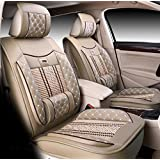 Icegirl Universal Needlework Front & Rear Car Seat Cushion Cover For Toyota Camry Corolla 4Runner Harrier Prius Hilux Highlander Crown RAV4 Tundra Yaris Eco Solara 5 Seats (Beige)