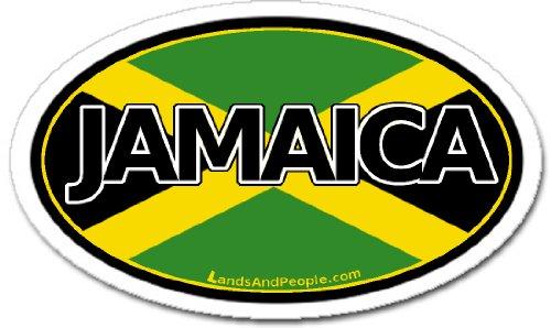LandsAndPeople.com Jamaica Jamaican Flag Car Bumper Sticker Decal - Oval Decal Jamaica