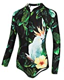 dilinte Long Sleeve One Piece Swimsuit Floral Print Zipper Sun Protection Swimsuit Rash Guard Bathing suit (XL, Print#7)