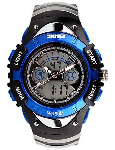 SKMEI Kinder Sport Armbanduhr Resin Analog Digital Quarz Kalender Alarm Chronograph 5ATM wasserdicht blau 0998
