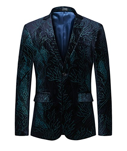 MOGU Mens Luxury Velvet Floral Blazer Jacket Slim Fit Casual Sprots Coat US Size 44 (Label 6XL) Green