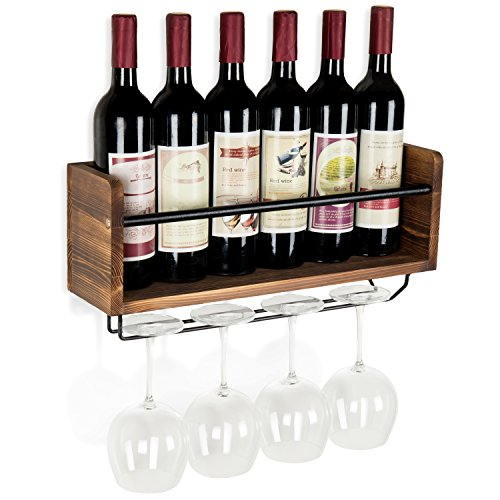 MyGift Industrial Style Wall-Mounted Wood 5-Wine Bottle Rack with 4-Stemware Holder, Brown by MyGift (Image #2)