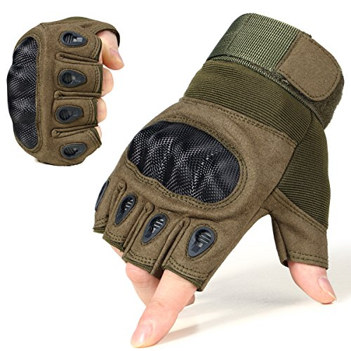 - JIUSY Army Tactical Fingerless Gloves Military Hard Knuckle Half Finger Gloves for Outdoor Motorcycle Cycling Hunting Hiking Airsoft Paintball Size X-Large Green