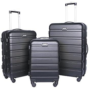 Image of Luggage Travelers Club Luggage 3-Piece Expandable Hardsided 2-in-1, Black Luggage Set One Size
