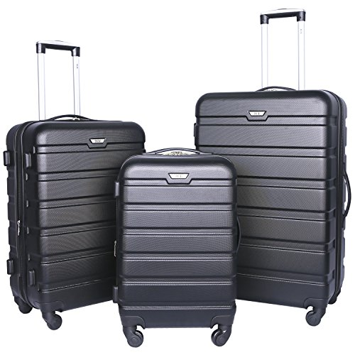 Travelers Club Luggage 3-Piece Expandable Hardsided 2-in-1, Black Luggage Set One Size (Club Piece 3 Travelers)