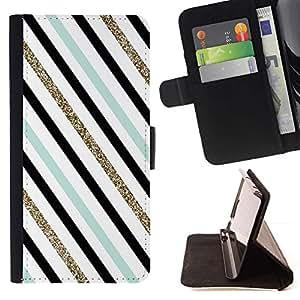 For HTC Desire 626 626w 626d 626g 626G dual sim Case , Azul Negro Diagonal trullo- la tarjeta de Crédito Slots PU Funda de cuero Monedero caso cubierta de piel