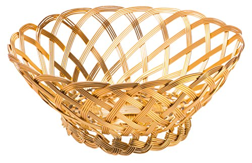 Gilded Aluminum Woven Bowl, Catch-All Storage Basket, Large, (Fancy Basket)