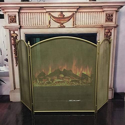LJFPB 暖炉スクリーン ベビーセーフファイヤースクリーン 折り畳み 3パネルメッシュ付き スパークガード 直火/木製バーナー/ガス火災用 (Color : Gold)