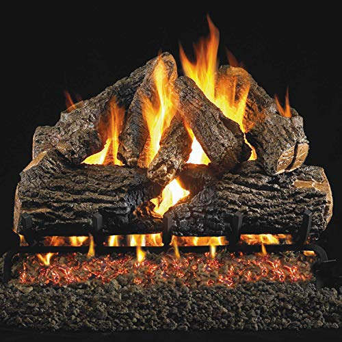 Peterson Real Fyre 24-inch Charred Oak Gas Log Set With Vented Propane G4 Burner - Manual Safety Pilot