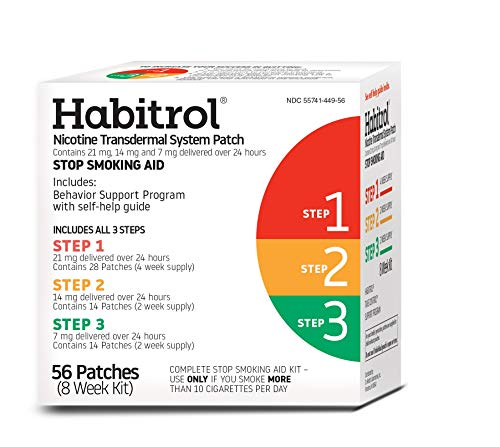Habitrol Nicotine Transdermal System Patch | Stop Smoking Aid | Steps 1, 2, and 3 (21, 14, and 7 mg) | 56 Patches (8 Week Kit) (The Best Stop Smoking Aid)