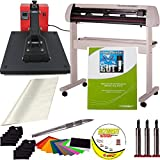 "USCutter 25"" Vinyl Cutter with Laserpoint and 15"" x 15"" Clamshell Heat Press Transfer Bundle"