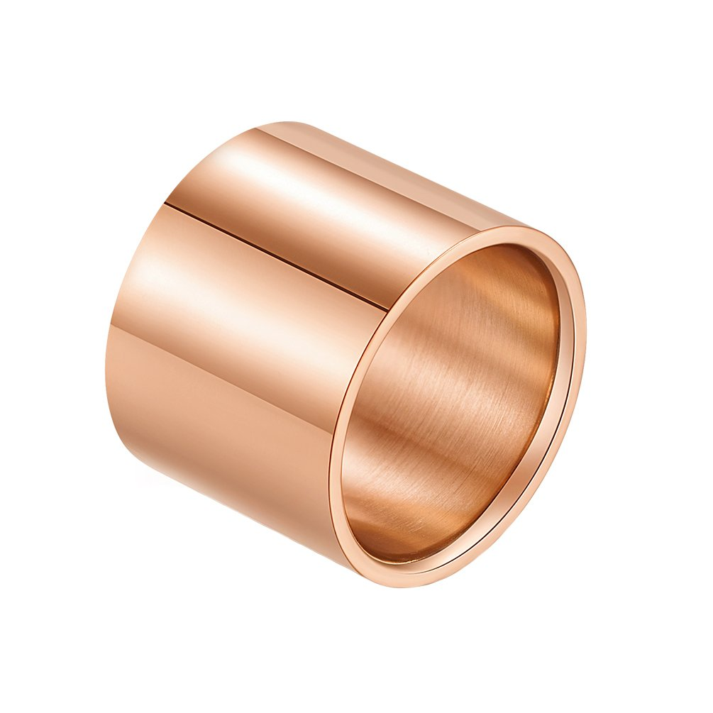 IFUAQZ 18mm Wide Stainless Steel Ring for Men Women Big Cool Band Full Circle High Polished Finish Flat Top, Rose Gold Size 12