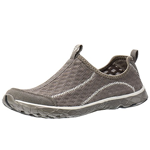- ALEADER Men's Mesh Slip On Water Shoes White/Gray 8 D(M) US