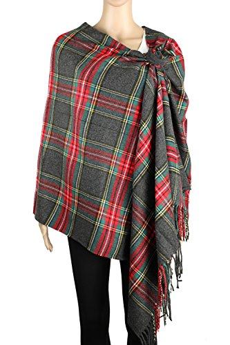 Achillea Long   Wide Scottish Tartan Plaid Large Cashmere Feel Blanket Scarf Check Shawl Wrap 80  X 29   Grey