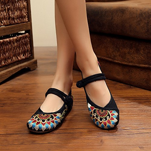 Womens Chinese Embroidery Platte Oxfords Shoes Wedge Casual Mary Jane Black
