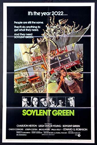 SOYLENT GREEN CHARLTON HESTON FUTURISTIC SCI-FI 1973 ORIGINAL 27X41 1-SHEET MOVIE POSTER