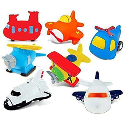 Puzzled Helicopter,Airplane,Sea Knight Helicopter,Sea Plane,Bi Plane,Jetliner and Space Shuttle Rubber Squirter Bath Buddy Bath Toy - Aircraft\Helicopters\Space Theme -3 INCH