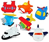 Puzzled Rubber Squirter Bath Floaters Aircraft Bathtub Toys Helicopter Airplane Sea Knight Sea Plane Jetliner Space Shuttle - About 3 Inches Each, 7 Pcs - Non-Toxic Toys for Baby Boys of All Ages!