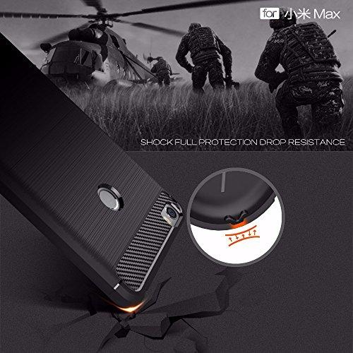 Funda XIAOMI Mi MAX,Alta Calidad Anti-Rasguño y Resistente Huellas Dactilares Totalmente Protectora Caso de Cover Case Material de fibra de carbono TPU Adecuado para el XIAOMI Mi MAX D