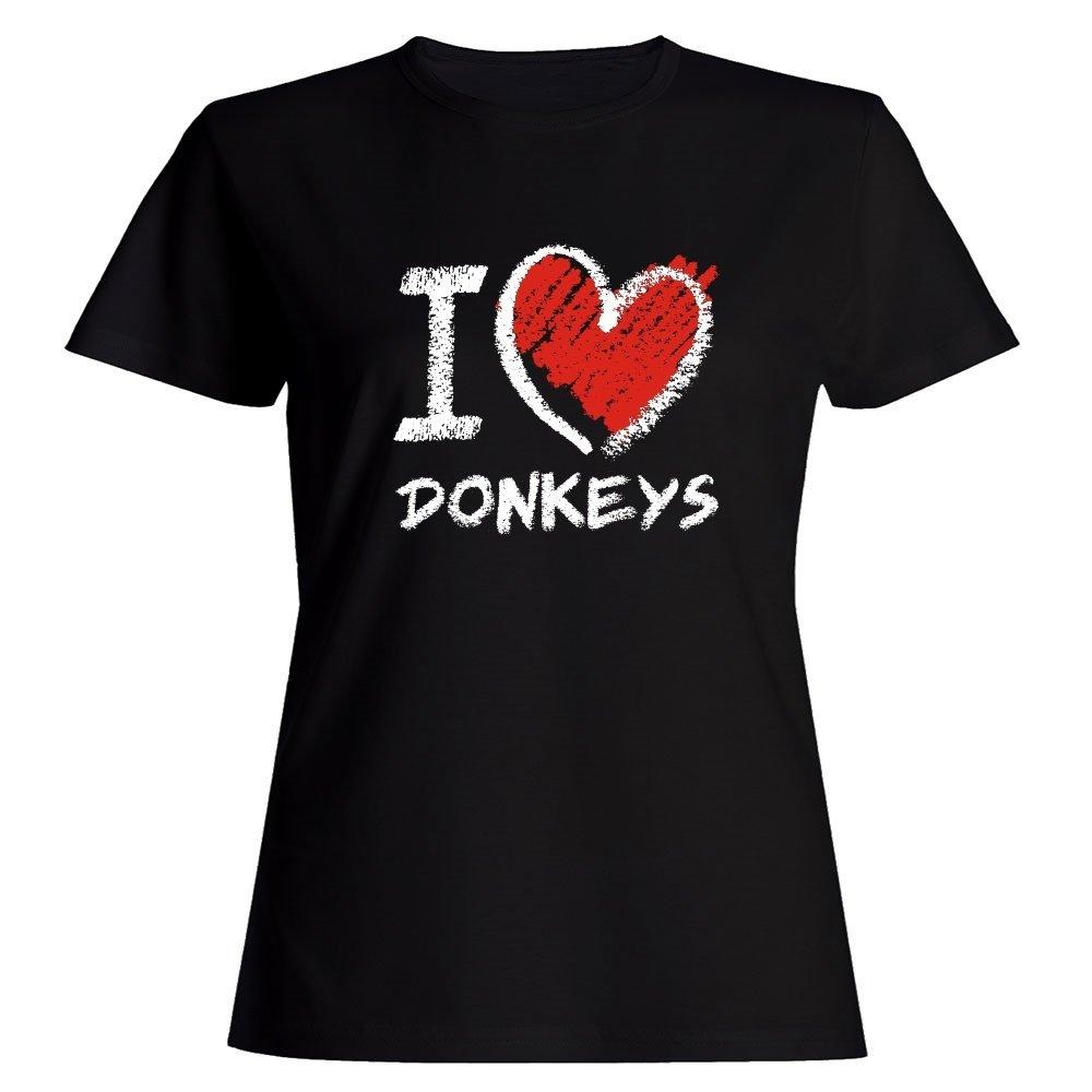 Idakoos I Love Donkeys Chalk Style - Animals - Women T-Shirt