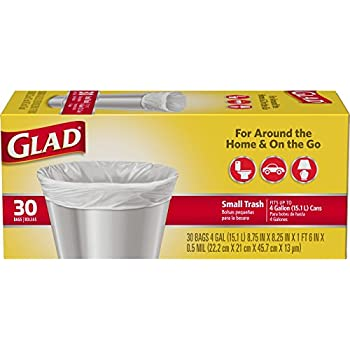 Amazon Com Glad Small Trash Bags 4 Gallon White Trash