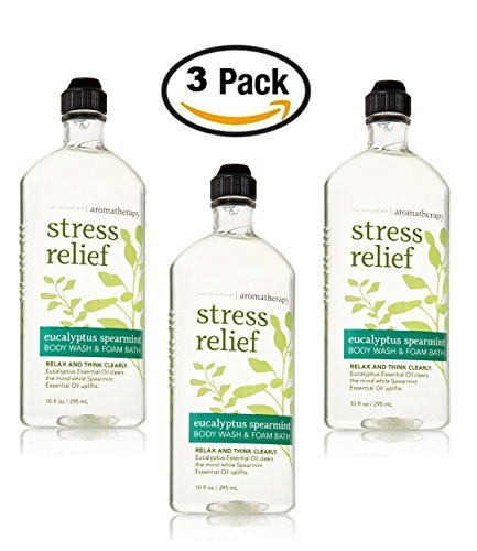 Bath & Body Works Aromatherapy Stress Relief - Eucalyptus + Spearmint Body Wash & Foam Bath, 10 Fl Oz, 3-Pack by Bath & Body Woods