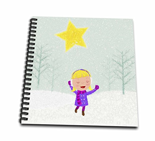3dRose Doreen Erhardt Christmas Collection - Caroling Girl in the Snow Kids Cray Drawing Style in Pink and Purple - Memory Book 12 x 12 inch (db_266770_2)