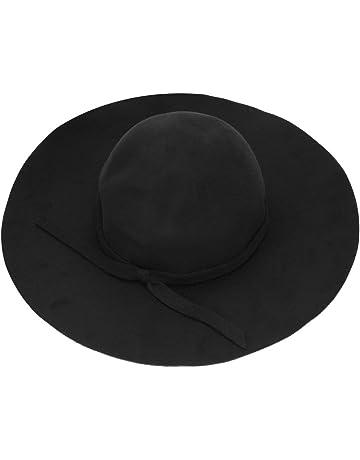 Delicacydex Mujeres Vintage Wide Brim Wool Felt Bowler Hat versión Coreana de Color sólido Wave Curling