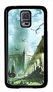 Dragons Flying Above The Castle Fantasy Custom Samsung Galaxy S5 Case Cover - Polycarbonate - Black