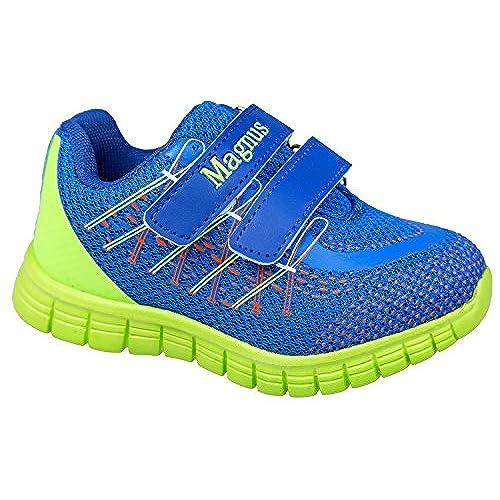 GIBRA® Enfants Chaussures de sport, avec fermeture velcro, bleu/vert fluo, Taille 25–30